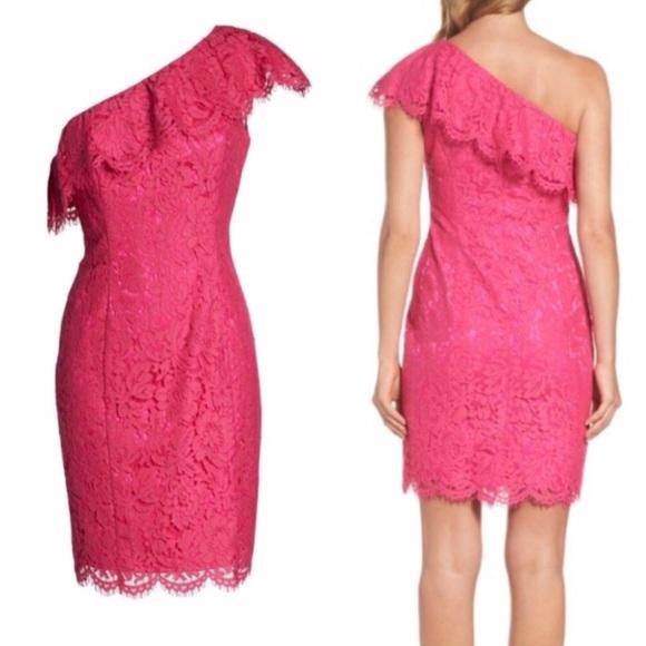 31d14953 Eliza J Dresses | Ruffle Lace One Shoulder Sheath Dress Pink | Poshmark